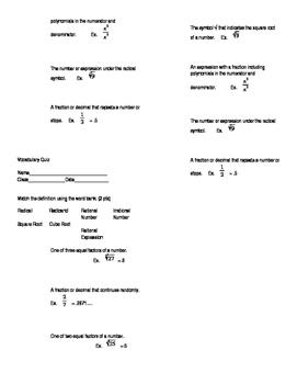 Radical Vocabulary Quiz