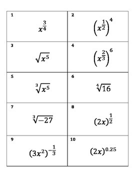 Radical and Rational Exponent Matching Cards - Algebra 2