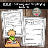 Algebra Interactive Notebook Unit 10 - Defining and Simplifying Radicals