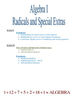 Radicals, Algebra Review Pages