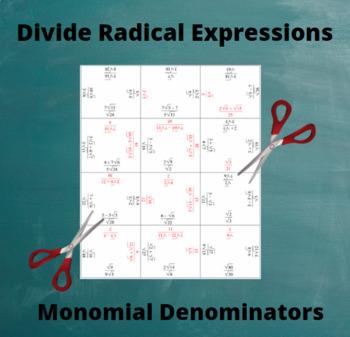 Divide Radicals: Division Puzzle with Monomial denominators