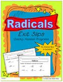 Radicals Exit Slips (Quick Square Roots Review)