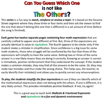 Radicals & Fractional Exponents I - Can you guess which one? - print version