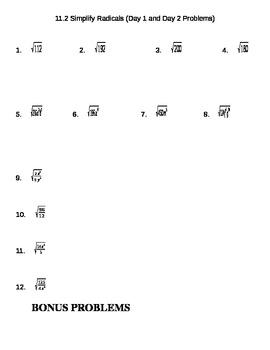 Radicals Practice Problems