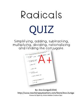 Radicals Quiz: Simplifying, Adding, Subtracting and Multiplying