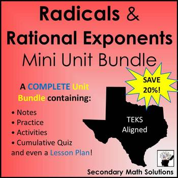 Radicals & Rational Exponents Mini-Bundle (A11A, A11B) - Algebra 1 Curriculum