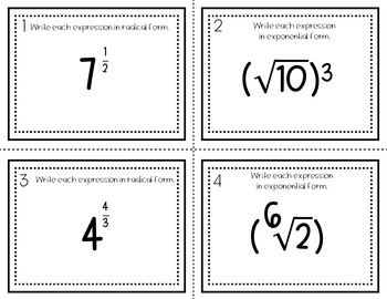 Radicals & Rational Exponents Task Cards