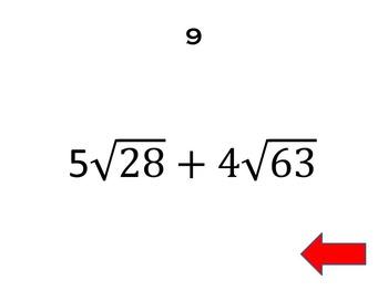 Radicals Review Game - BINGO - Powerpoint - Algebra 2