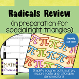Radicals Review (in prep. for special right triangles) Calculate and Color!