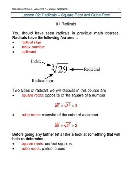 Radicals - Square Root and Cube Root