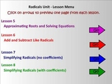Radicals Unit (Lessons 5 - 8) Smart Board Teaching Assistant