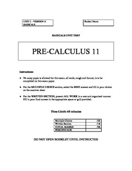 Radicals Unit Test with FULL SOLUTIONS