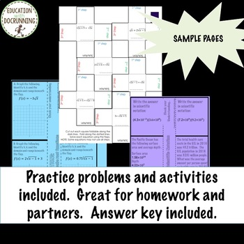Radicals and Exponents NOTES Only for Algebra 2 Curriculum Unit 6 Bundle