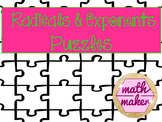 Radicals and Exponents Matching Puzzles ~~~ 8th Grade Math