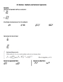 Radicals and Rational Exponents Notes Sheet