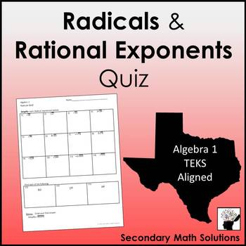 Radicals and Rational Exponents Quiz (A11A, A11B)