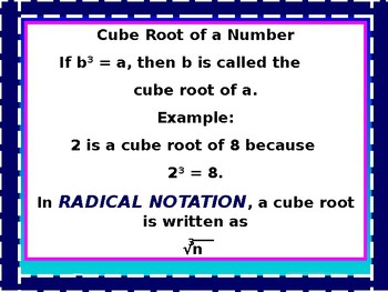 Algebra Power-point: Radicals and Rational Exponents with GUIDED NOTES