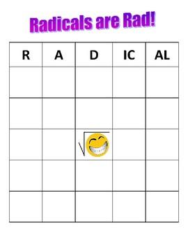 Radicals are Rad! Bingo