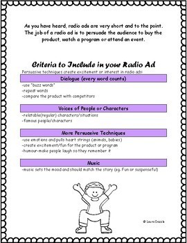 Radio Advertisement Media Assignment Grades 4-8