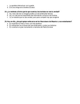 Radio Ambulante : Narcotours Episodio Auditivo Multiple Choice Questions