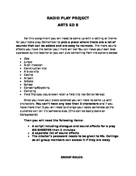 Arts Ed Radio Play Project: Instructions and Handouts