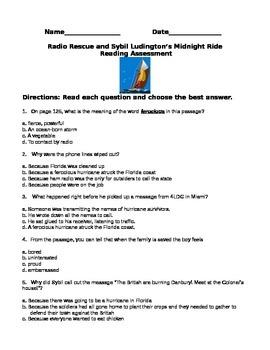 Radio Rescue and Sybil Ludington HMR 3rd Grade Reading Test