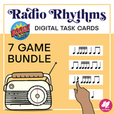 Radio Rhythms: Digital Rhythm Task Cards - Boom Card Bundle - Distance Learning