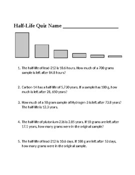 Half Life Worksheet Teaching Resources Teachers Pay Teachers