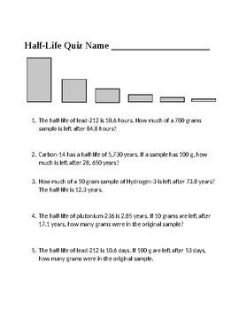 Radioactive Half Life Worksheet by Scorton Creek ...