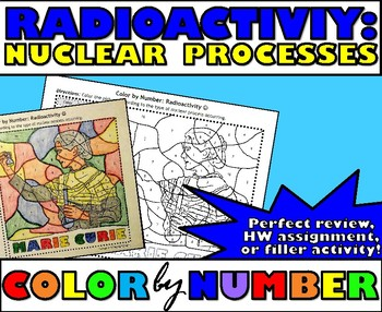 Radioactivity Nuclear Processes Color By Number By Msrazz Chemclass