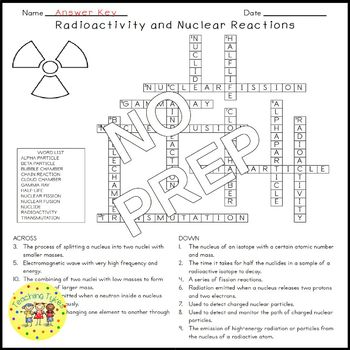 Radioactivity Nuclear Reactions Science Crossword Coloring Worksheet Middle Sch