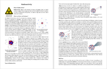 Radioactivity - Reading Article - Grade 8 and Up