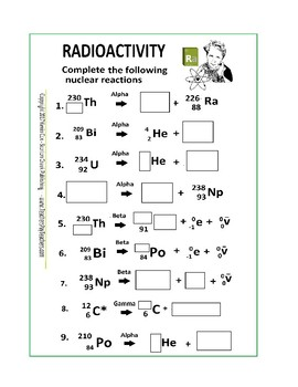 Radioactivity Worksheet or Quiz