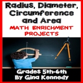 Radius, Diameter, Circumference and Area Projects, Plus Vocabulary!