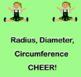 Circles Radius Diameter Circumference CHEER Animated Gif Smartboard Pdf Word
