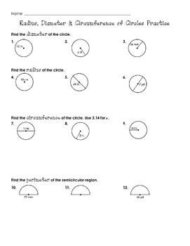 Radius, Diameter & Circumference of Circles Practice