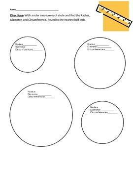 Radius, Diameter, circumference worksheet.