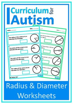 Radius & Diameter of Circles  Worksheets, Autism, Special Education