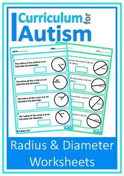 Radius Diameter of Circles Autism Special Education Middle School ...