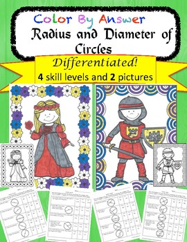 Radius and Diameter of Circles Differentiated Color by Ans
