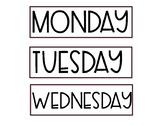 Rae Dunn Calendar- Days of the Week
