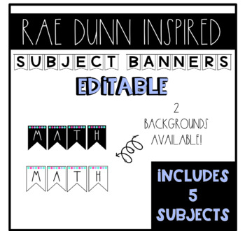 Rae Dunn Inspired Subject Banners (Editable)