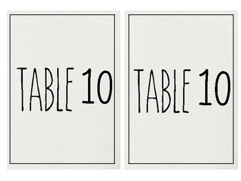 Rae Dunn Inspired Table Numbers