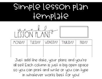 Rae Dunn Lesson Plan Template Horizontal