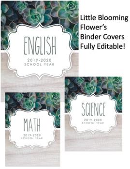Rae Dunn Succulent Inspired Binder Covers (Editable)