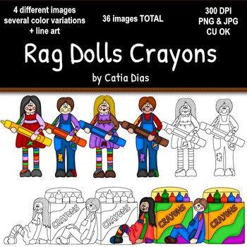 Rag Dolls Crayons Clip Art