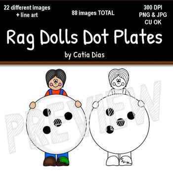 Rag Dolls Dot Plates Clip Art
