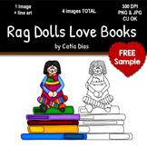 Rag Dolls Love Books Clip Art FREE SAMPLE