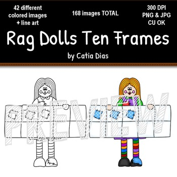 Rag Dolls Ten Frames Clip Art