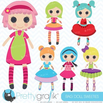 Rag doll, toy girl clipart commercial use, vector graphics - CL459
